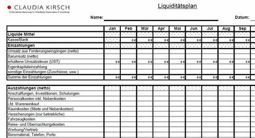 Liquiditätsplan-Tabelle Unternehmensberatung Kirsch