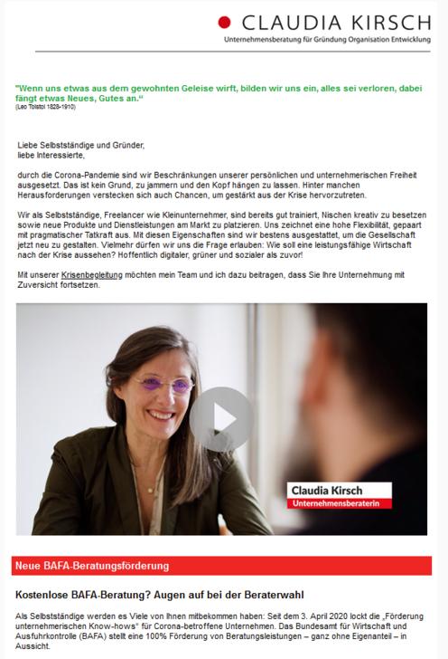 Screenshot von UCK-Newsletter
