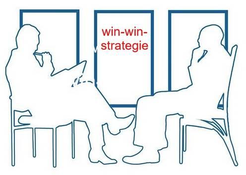 Zwei Personen verhandeln sich gegenüber sitzend - win-win-Strategie